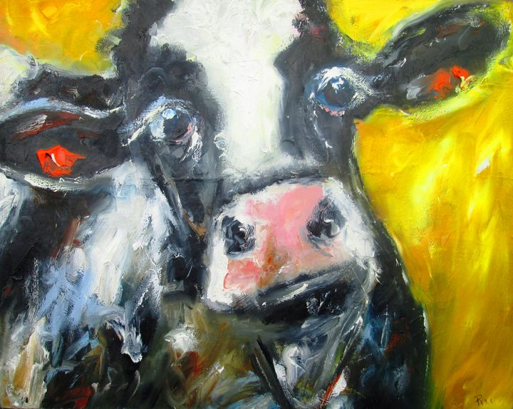 a quizzical cow on yellow - www.pixi-art.com