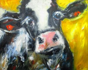 a quizzical cow on yellow