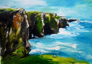 Painting of Cliffs of moher panorama