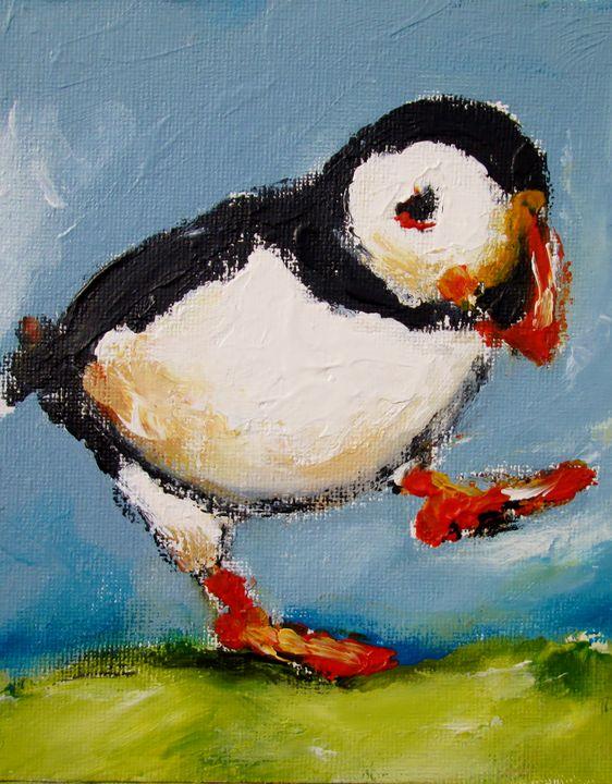 Painting of Dancing irish puffin - www.pixi-art.com
