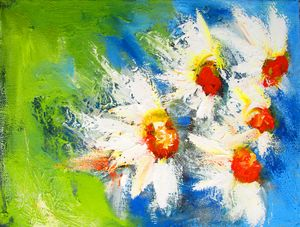 painting of semi abstract daisys