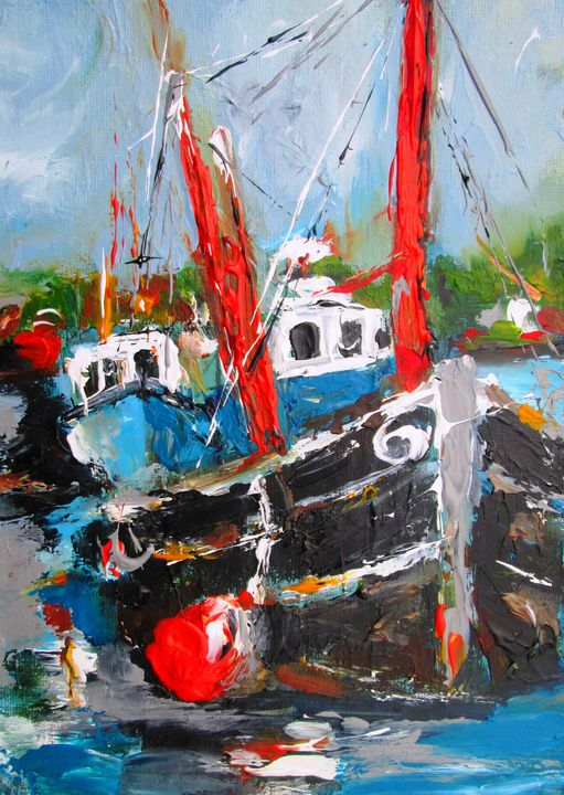 painting of galway boats - www.pixi-art.com