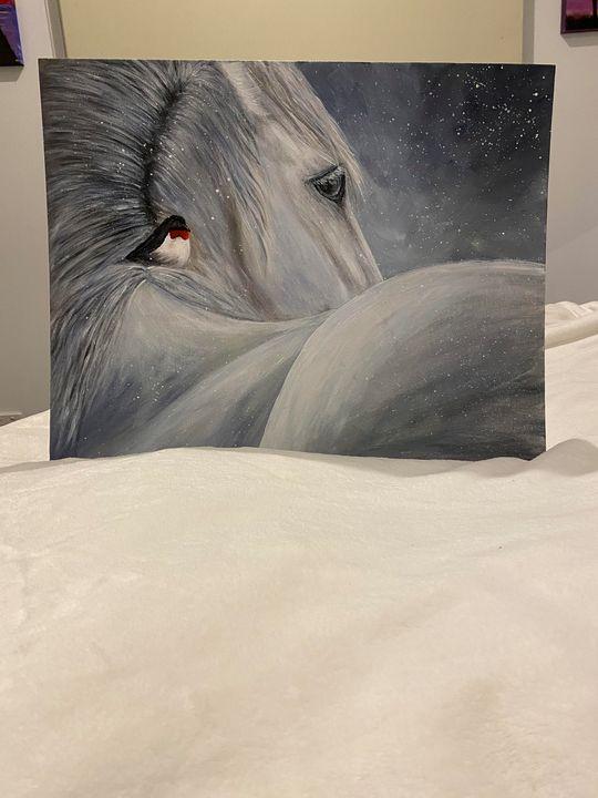 White horse with  a bird - Natasha Avy