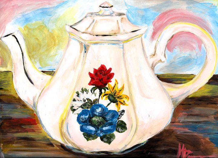 Colorful Floral Teapot - Maria Popescu