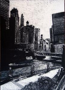 Black and White Chicago River - Po Ku