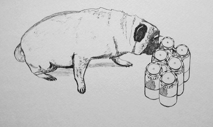Pug Sniffing Beer - Po Ku