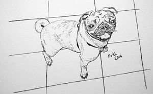 Pug Smile on Tile