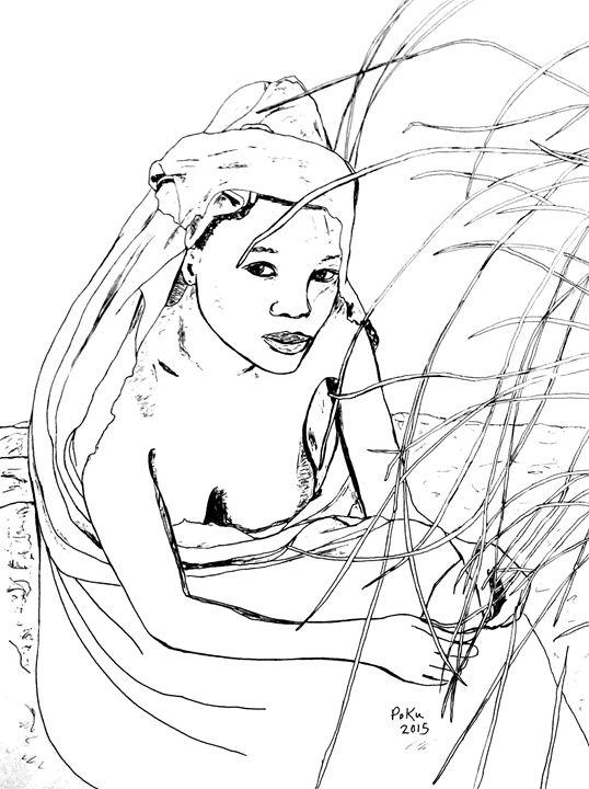 Woman Picking Grass - Po Ku