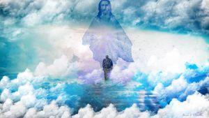 Man walking into Heaven