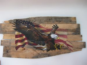 Eagle with flag on pallet boards