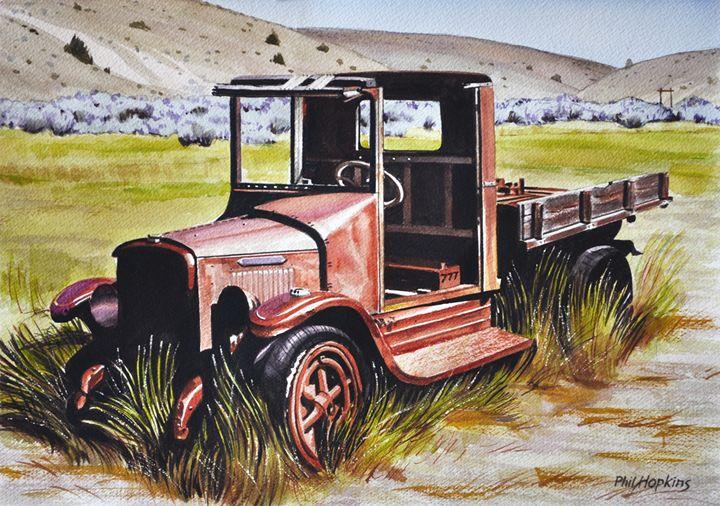 Old  Red Bannack junker truck - philhopkinsfineart