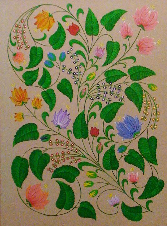 Flowers-leaves on a beige background - Oleksandr Samohval