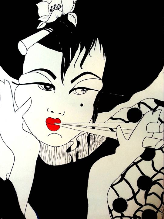 THE CHINA GIRL RED LIPS - JB EDIFY STUDIO