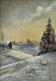 Original winter oil landscape