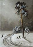 original oil winter landscape