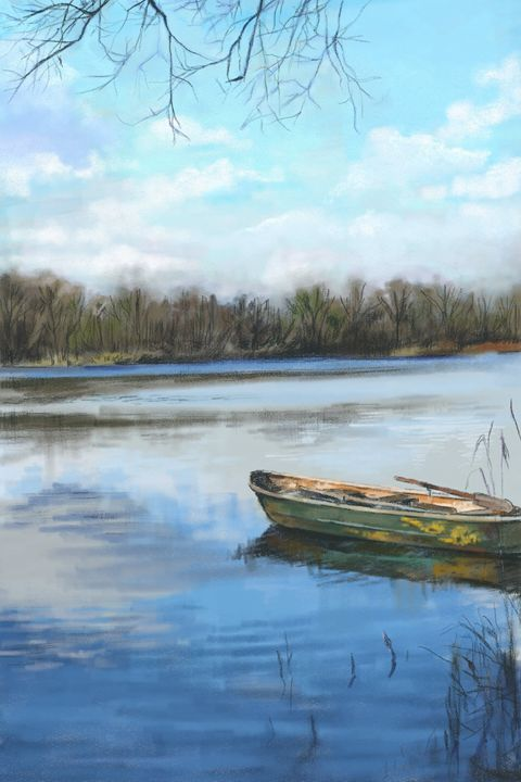 Blue and a Canoe - Ramona Kurten MacDonald