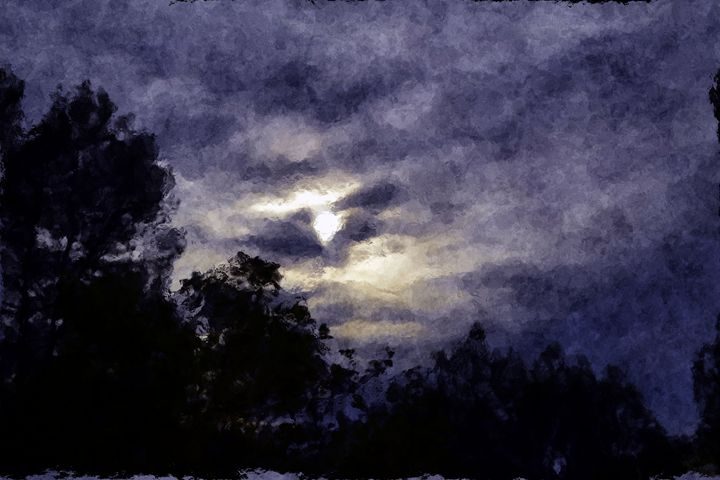 Moon Lit Night Sky Dark Watercolour - CibArt