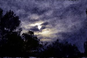 Moon Lit Night Sky Dark Watercolour