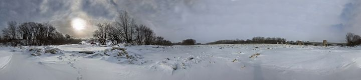 Frozen River Panorama - Casey Becker
