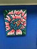 Acrylic painting of a peony on canva