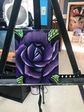 Oil painting of a rose on canvas