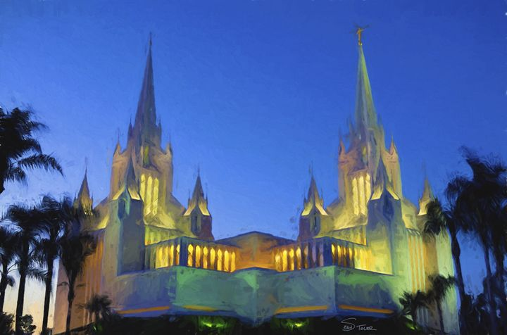The LDS San Diego Temple at Twilight - Sean Toler Photo