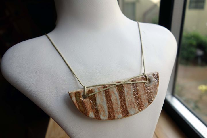 Striped Ceramic Necklace - Rebecca Rau