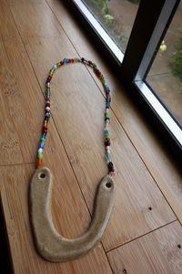 Ceramic Necklace with Vintage Beads