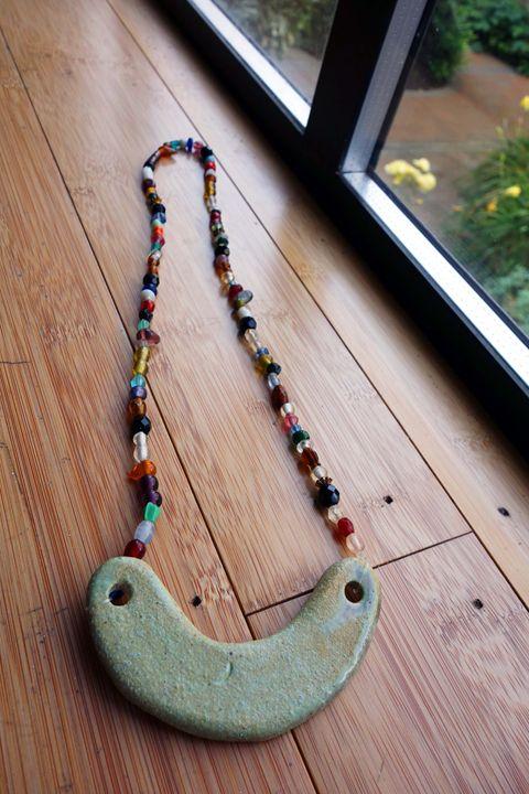 Ceramic & Vintage Glass Necklace - Rebecca Rau