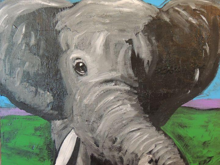 Original Acrylic on Canvas Elephant - Eyes on the wall