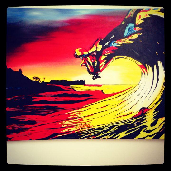 Sunset wave - Surf art