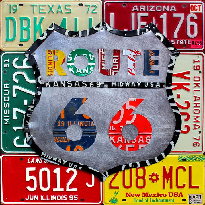 Route 66 License Plate Art by Design - License Plate Maps