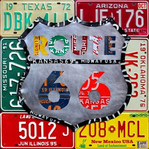 Route 66 License Plate Art by Design