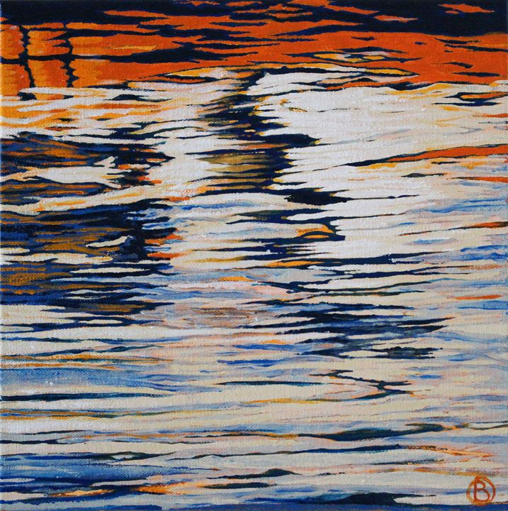 Orange and Blue Ripples - Brandonorbanoskyart.com