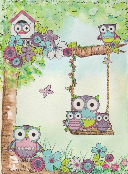 Owls on playing - Love art