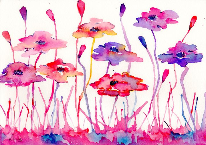 messy pink and blue poppys - Love art