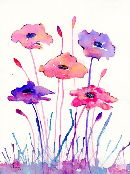 pink, purple messy poppys - Love art