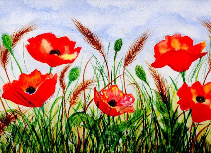 poppys in corn field - Love art