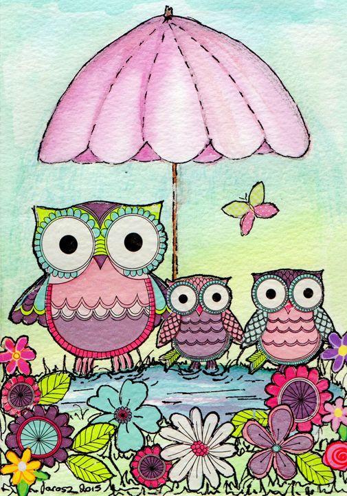 family of 3 cute owls - Love art
