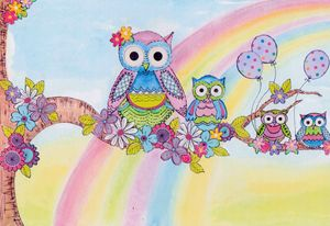 Rainbow owls in a tree