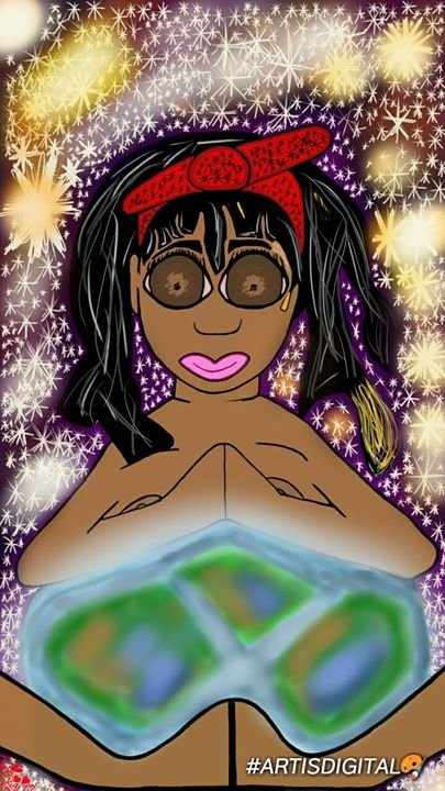 """She holds the world"" 🌎 - Art is digital"