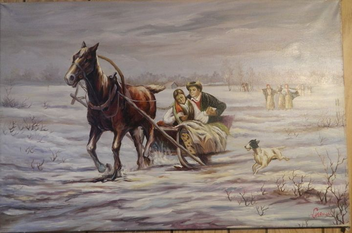 Painting of a horse and sleigh - Own gallery