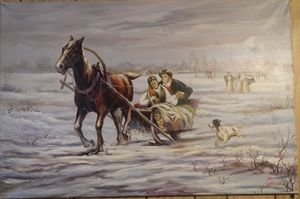Painting of a horse and sleigh