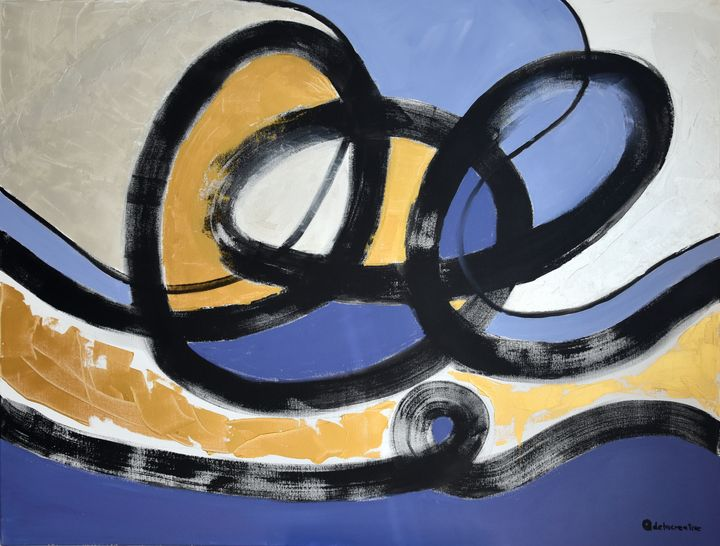 Modern abstract blue gold - Path 2 - Adelacreative