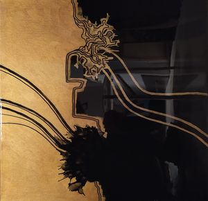 Resin painting Gold and Black Flower