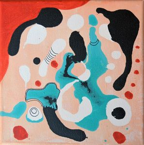 Flamingo 1 acrylic abstract painting