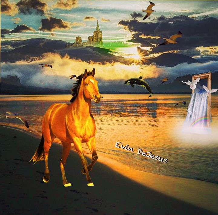 Horse Along beach - Evin DeJesus Art Gallery