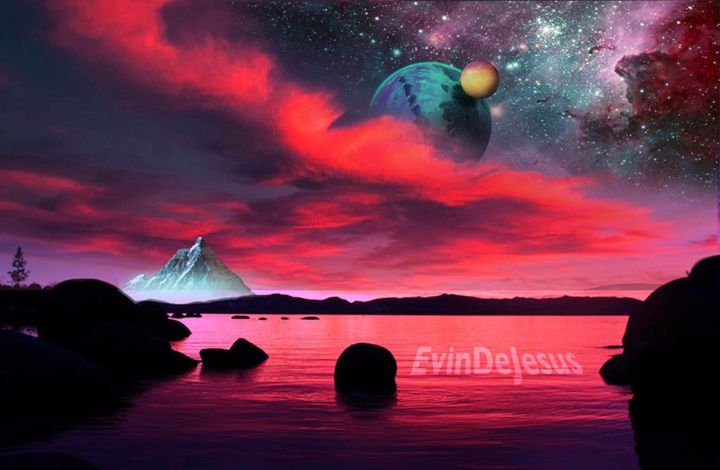 Spacey mountain - Evin DeJesus Art Gallery