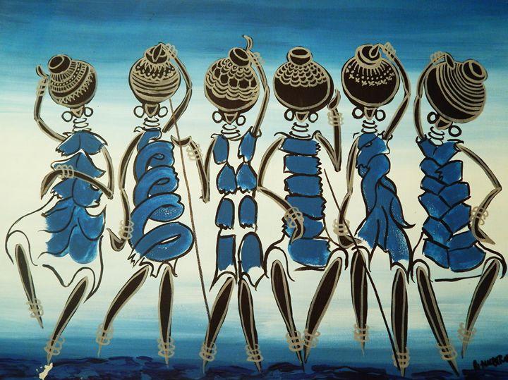 Women Carrying Pots of Water - Richard Mubiru