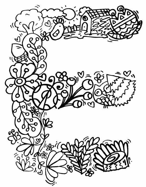 """Alphabet """" E """" doodle art - Elephant Bell"""